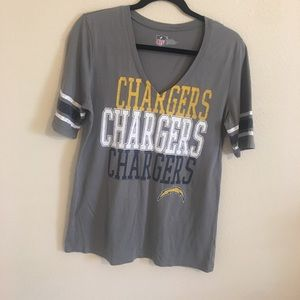 Chargers NFL girls v neck t shirt